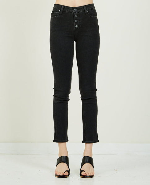 PAIGE HOXTON SLIM BUTTON FLY STARLIT BLACK