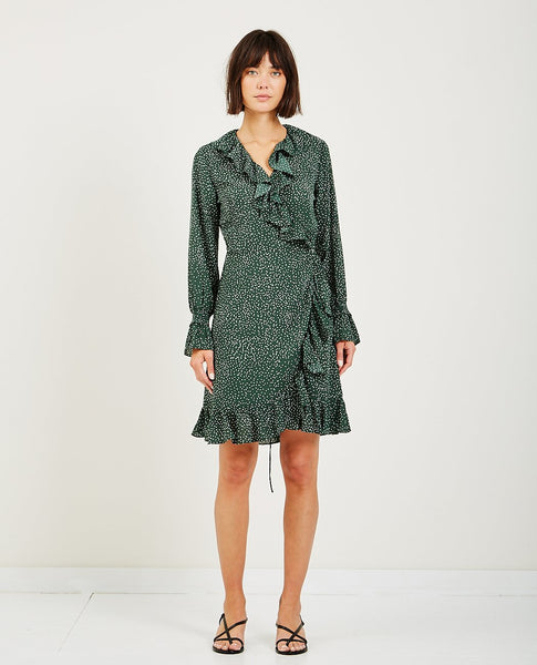 JUST FEMALE IMAGE WRAP DRESS GREEN DOT