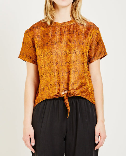 PRIORY INDIAN SILK BROCA FRONT TIE TEE