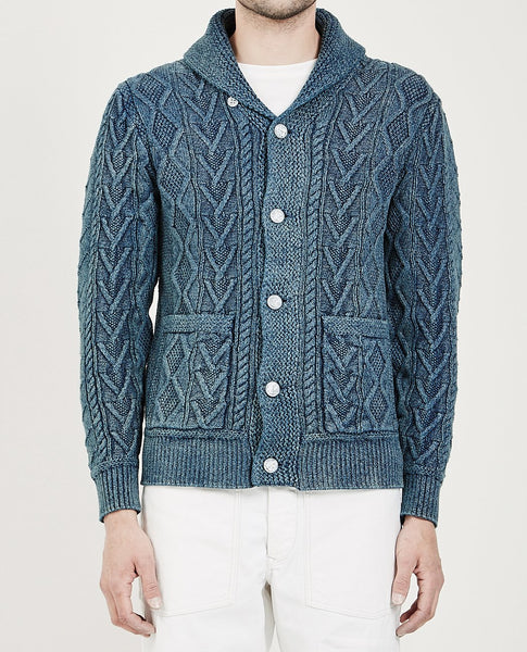 RRL INDIGO ARAN COTTON CARDIGAN