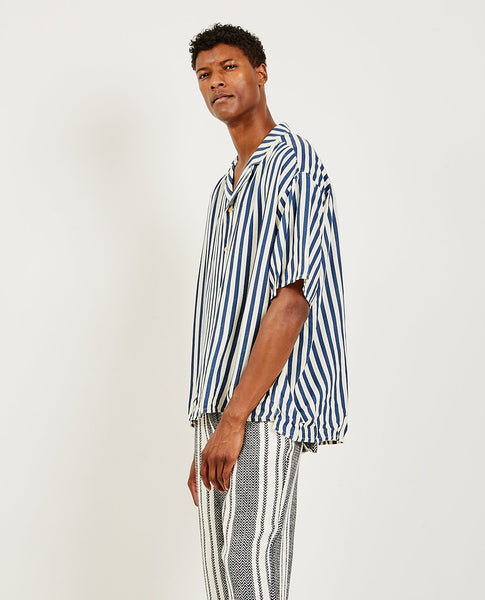 KURO Indigo Stripe Rayon Big Shirt