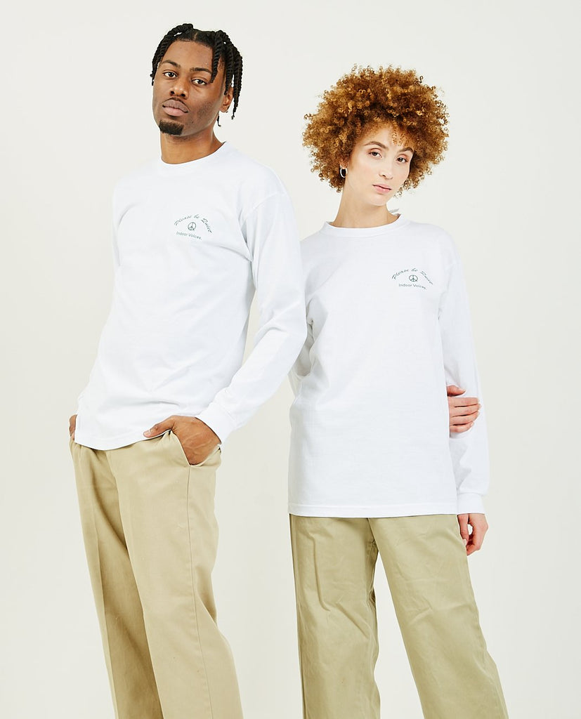 PEACE & QUIET-Indoor Voices Long Sleeve Tee White-Unisex Top-{option1]