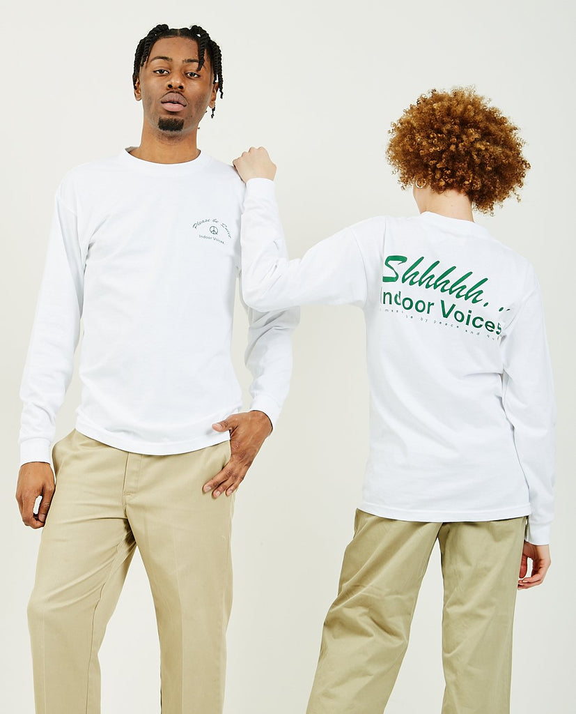 Indoor Voices Long Sleeve Tee White-PEACE & QUIET-American Rag Cie