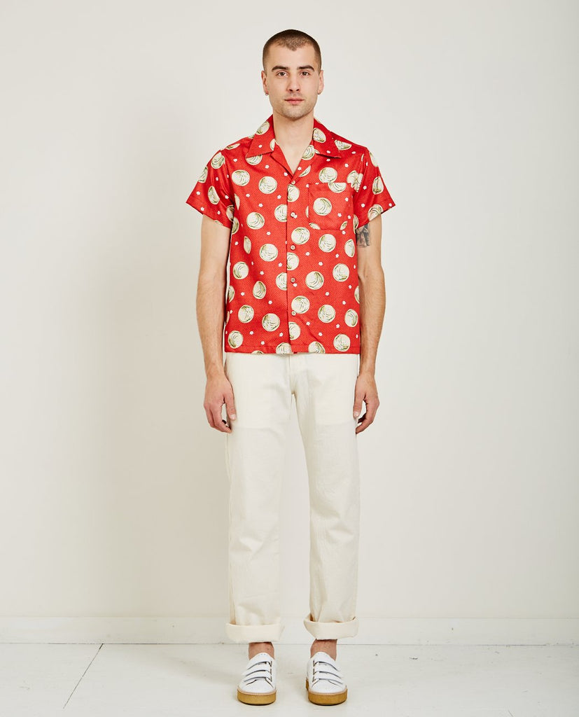 NAKED & FAMOUS JAPANESE SPRINGTIME ALOHA SHIRT RED