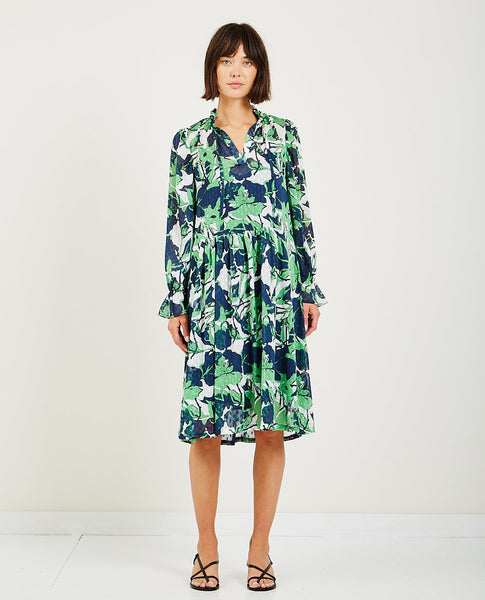 JUST FEMALE JOANA DRESS ABSTRACT LEAF