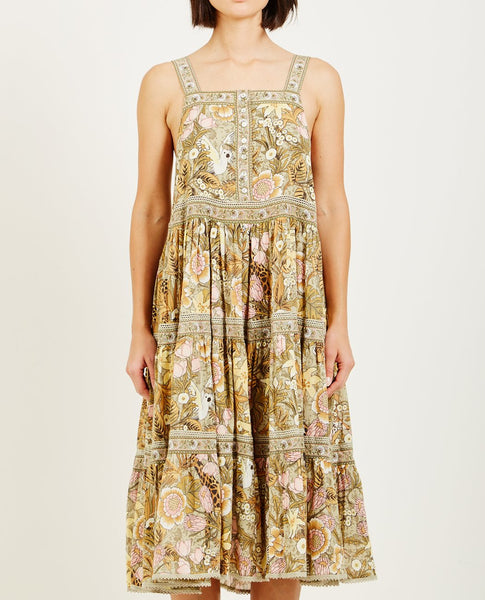 SPELL & THE GYPSY JUNGLE MIDI SUNDRESS KHAKI