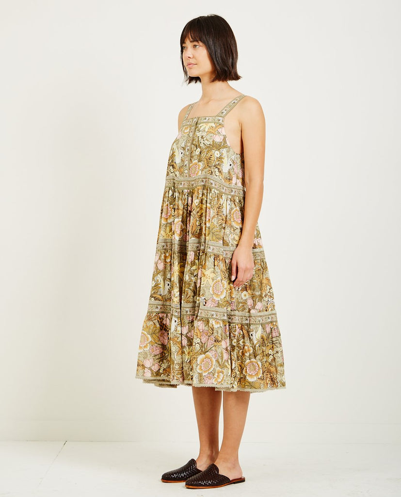 SPELL & THE GYPSY-JUNGLE MIDI SUNDRESS KHAKI-Dresses-{option1]