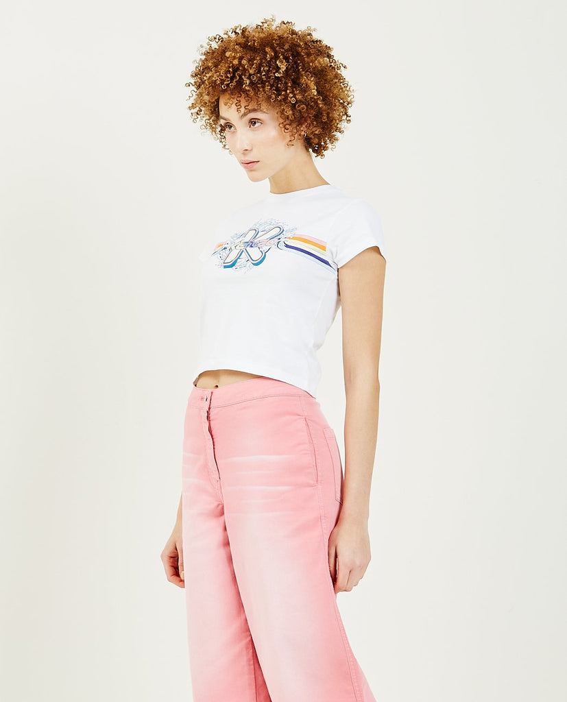 KENZO-K Waves Cropped Tee-Women Tees + Tanks-{option1]