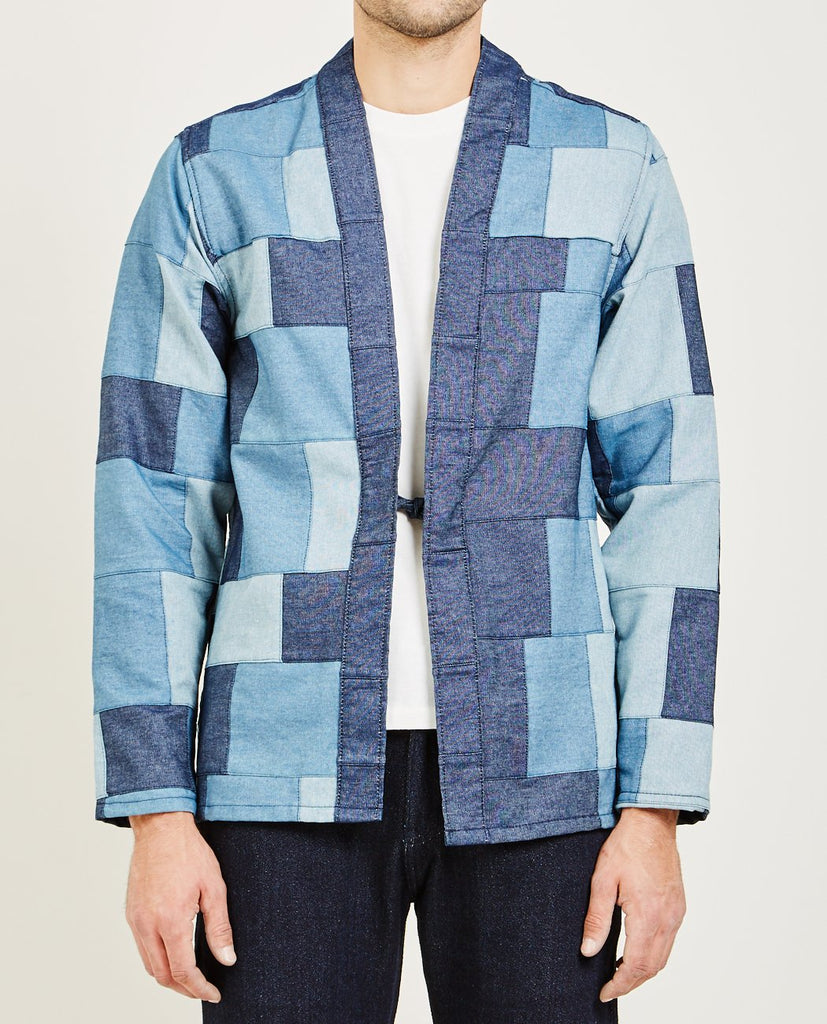 NAKED & FAMOUS-KIMONO SHIRT PATCHWORK DENIM-Men Shirts-{option1]