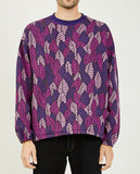 REMI RELIEF-LEAF PATTERN POLY JACQUARD CREW SWEATER-Men Sweaters + Sweatshirts-{option1]