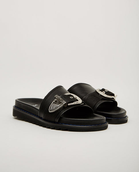 TOGA PULLA LEATHER 1-STRAP SLIDE SANDAL