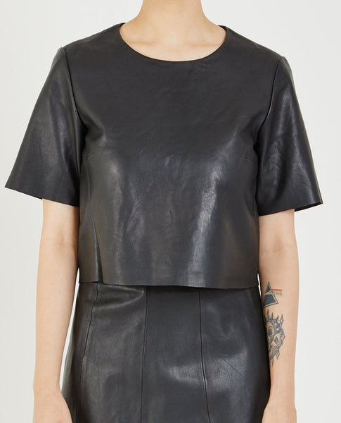 VEDA LEATHER CROP TEE