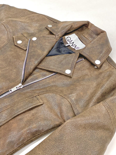 GANNI Leather Short Jacket