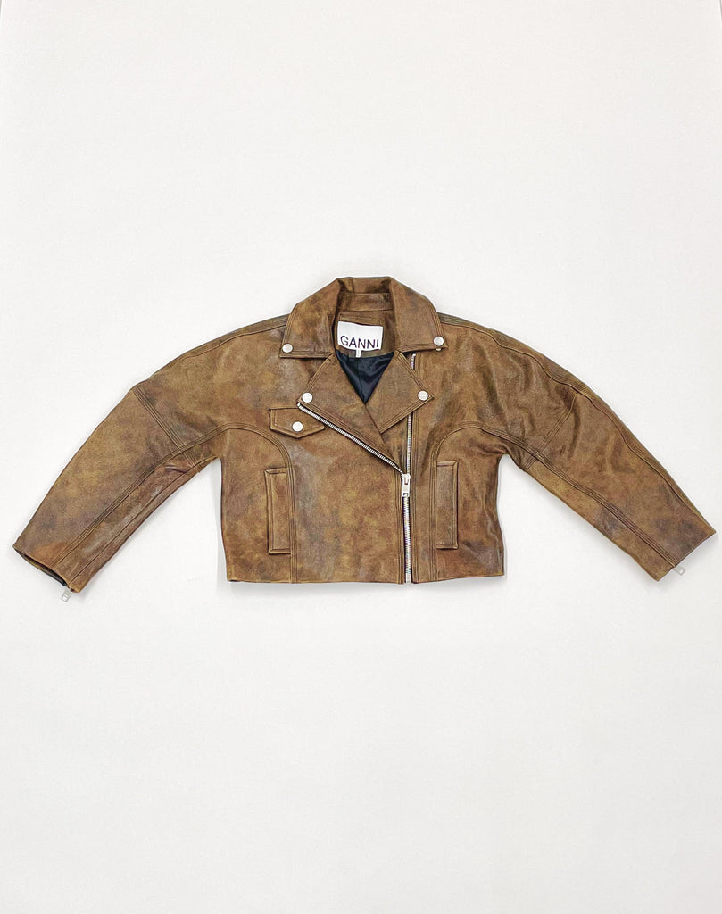Leather Short Jacket-GANNI-American Rag Cie