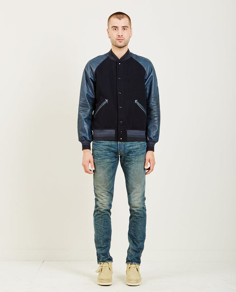 RRL LEATHER SLEEVE FELT JACKET