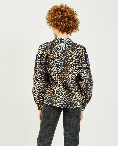 GANNI Leopard Print Denim Top