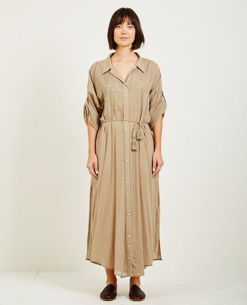 SPELL & THE GYPSY LINDA SHIRT DRESS KHAKI