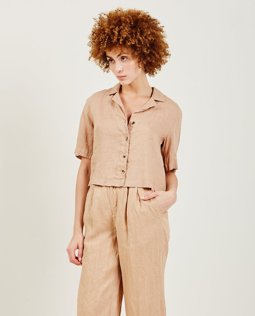 STATESIDE-Linen Button Up-Blouses-{option1]
