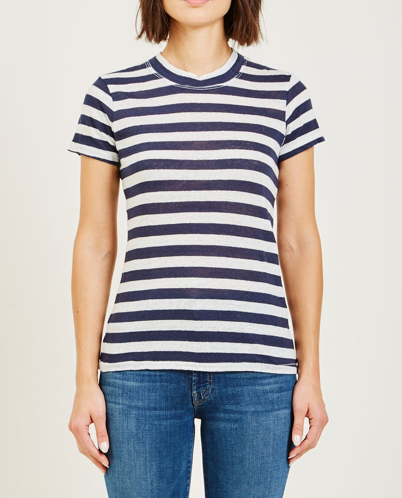 STATESIDE-LINEN JERSEY BABY TEE NAVY STRIPE-Women Tees + Tanks-{option1]