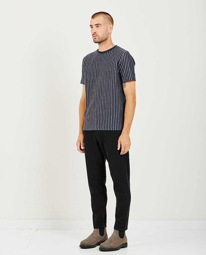 REMI RELIEF-LINEN PINSTRIPED CREWNECK T-SHIRT-Men Shirts-{option1]