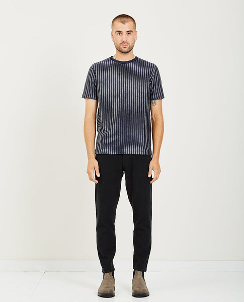 REMI RELIEF LINEN PINSTRIPED CREWNECK T-SHIRT