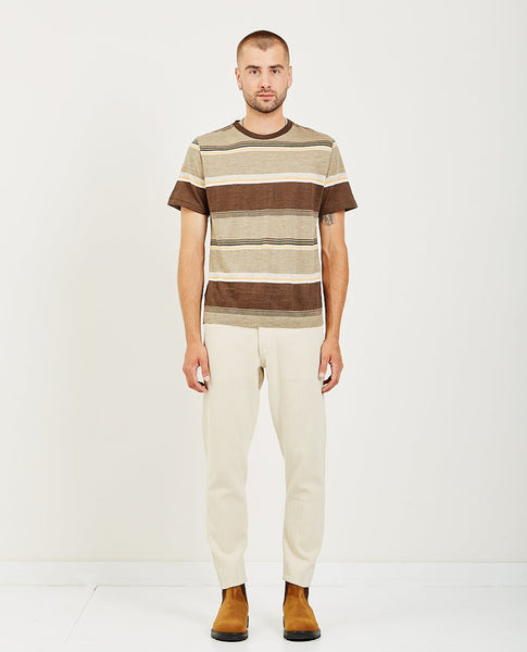 REMI RELIEF LINEN SURF STRIPED CREWNECK T-SHIRT
