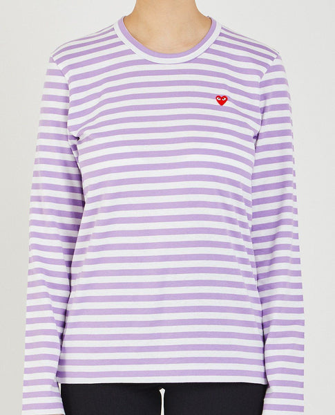 COMME DES GARÇONS PLAY LITTLE RED HEART STRIPE TEE