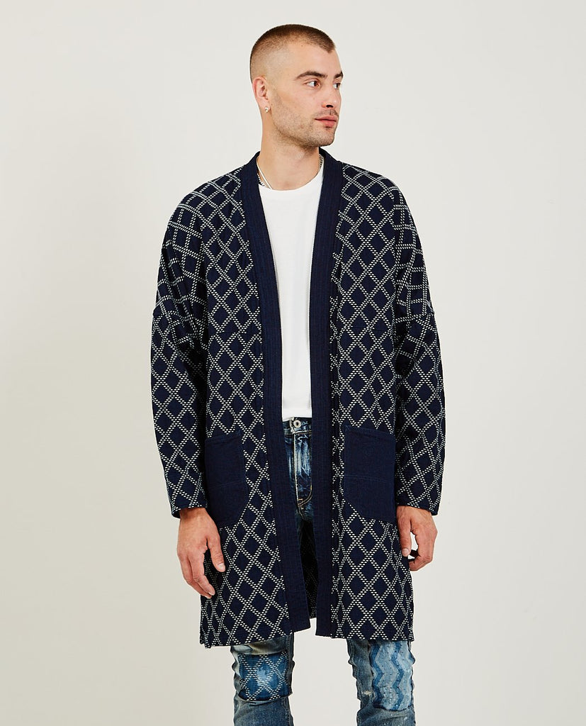 FDMTL-Long Haori Coat Sashiko Indigo-Men Coats + Jackets-{option1]