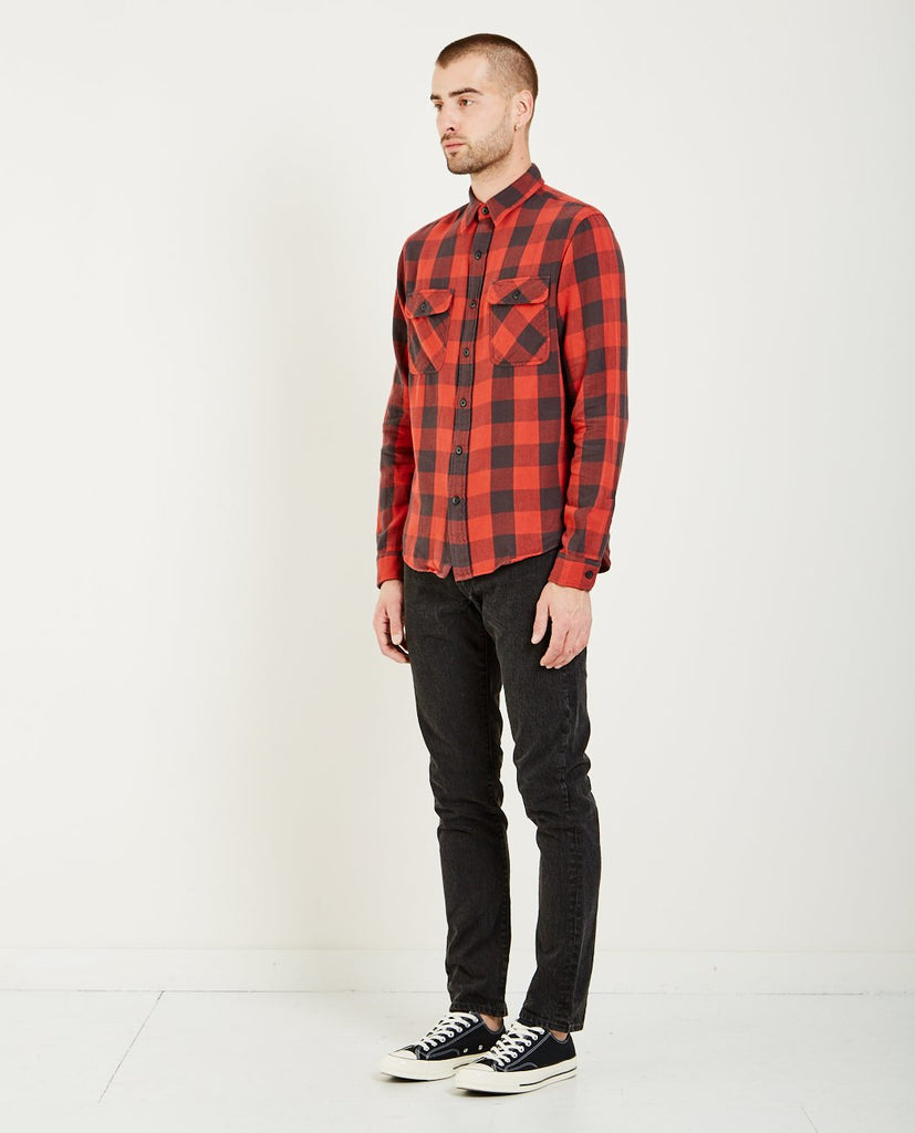 MATLOCK LONG SLEEVE PLAID SPORT SHIRT- RED/BLACK-RRL-American Rag Cie