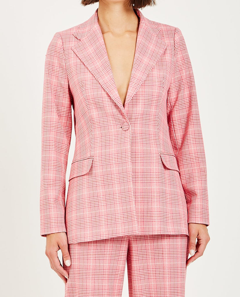 MAXIME BLAZER ROSE CHECK-JUST FEMALE-American Rag Cie