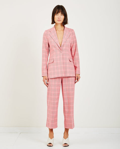 JUST FEMALE MAXIME BLAZER ROSE CHECK