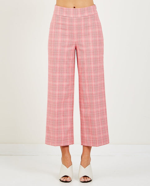 JUST FEMALE MAXIME TROUSER ROSE CHECK