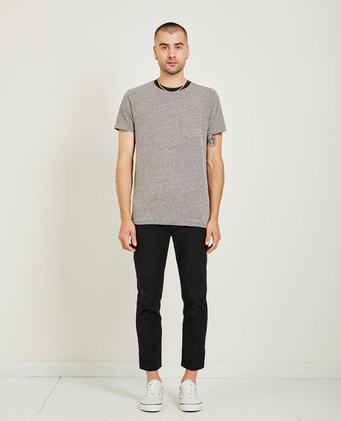 AR321 MELANGE CREW NECK POCKET TEE CHARCOAL
