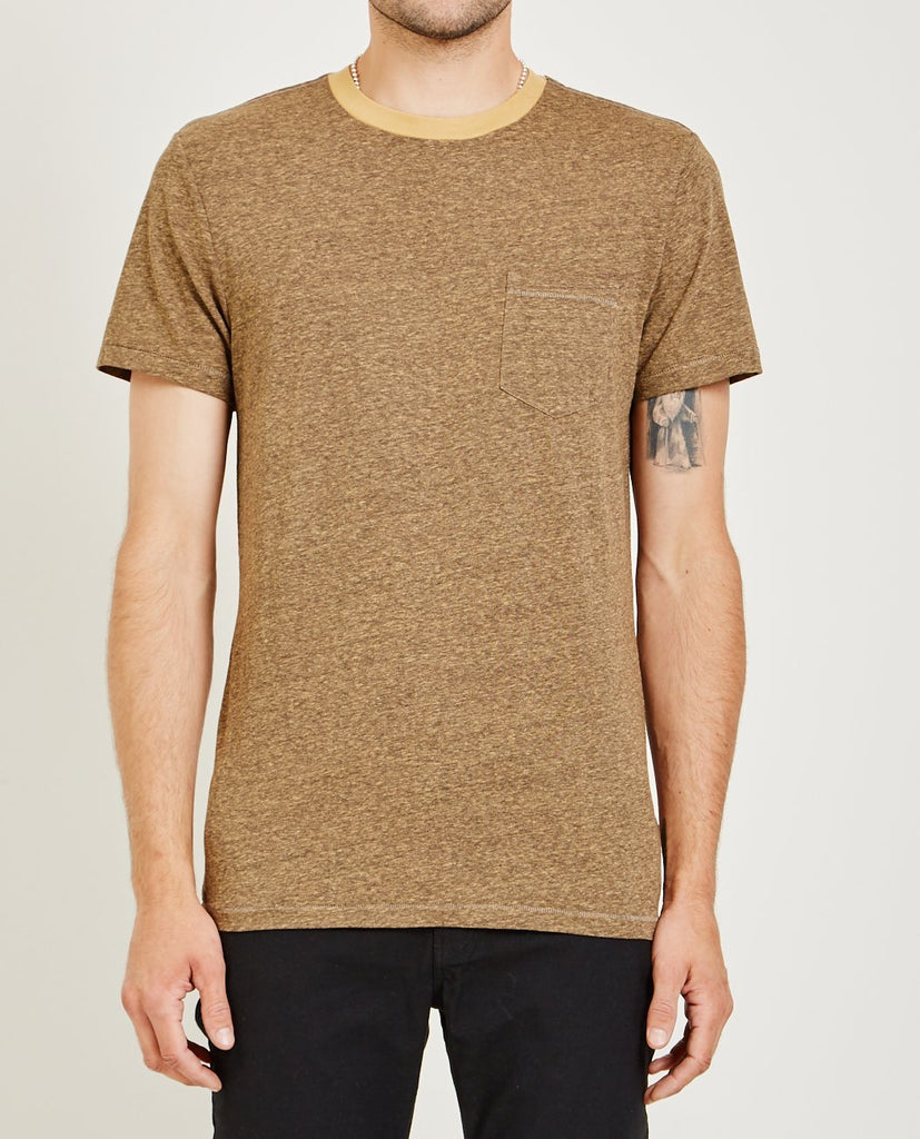 MELANGE CREW NECK POCKET TEE ORANGE-AR321-American Rag Cie