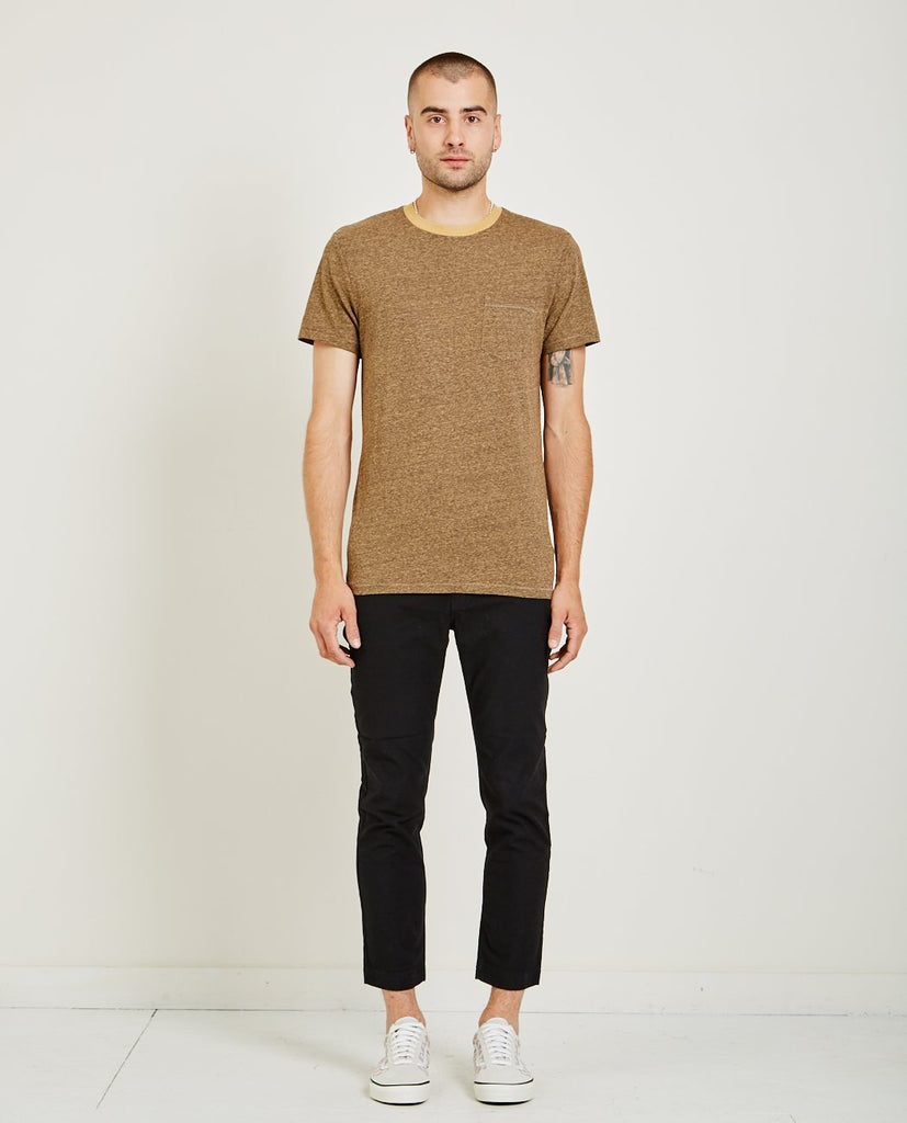 AR321-Melange Crew Neck Pocket Tee Orange-Men Tees + Tanks-{option1]
