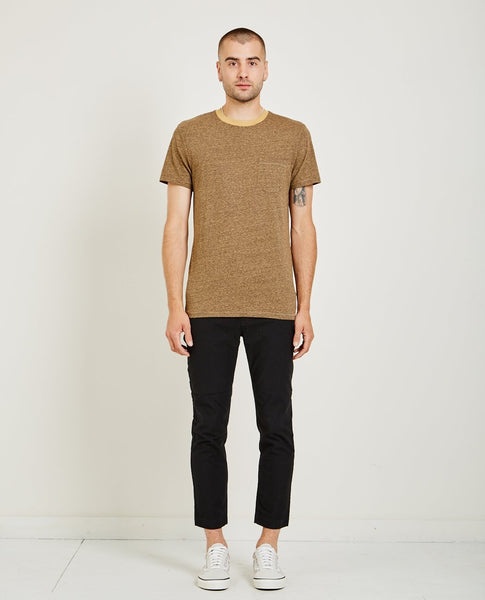 AR321 MELANGE CREW NECK POCKET TEE ORANGE