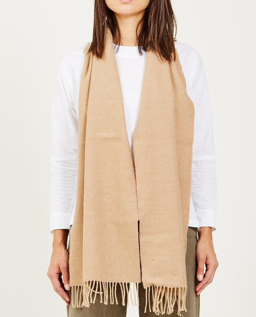 STEVE MONO-MERINO WOOL & CALFSKIN DETAIL SCARF-Women Accessories-{option1]