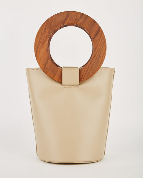 MODERN WEAVING MINI WOOD CIRCLE HANDLE BUCKET BAG