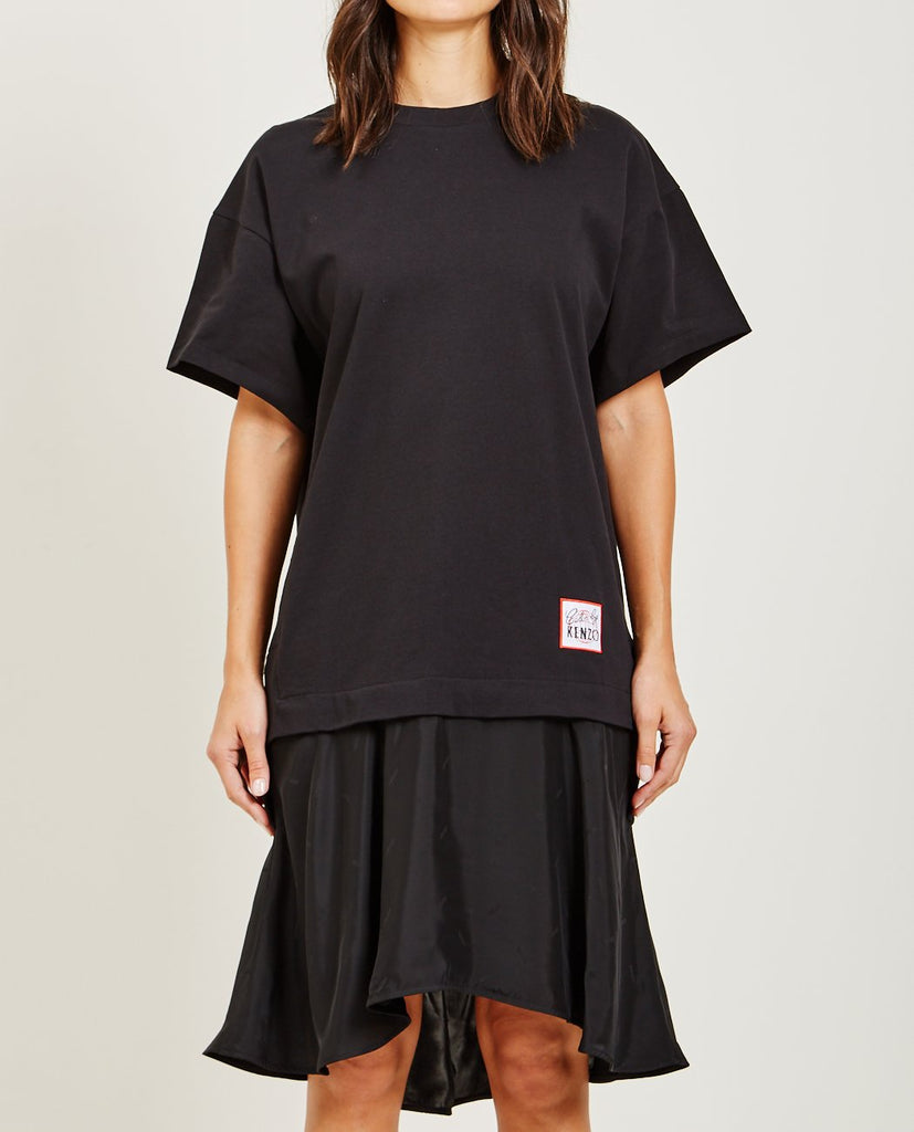 KENZO-MIXED FABRIC TEE DRESS-DRESSES-{option1]