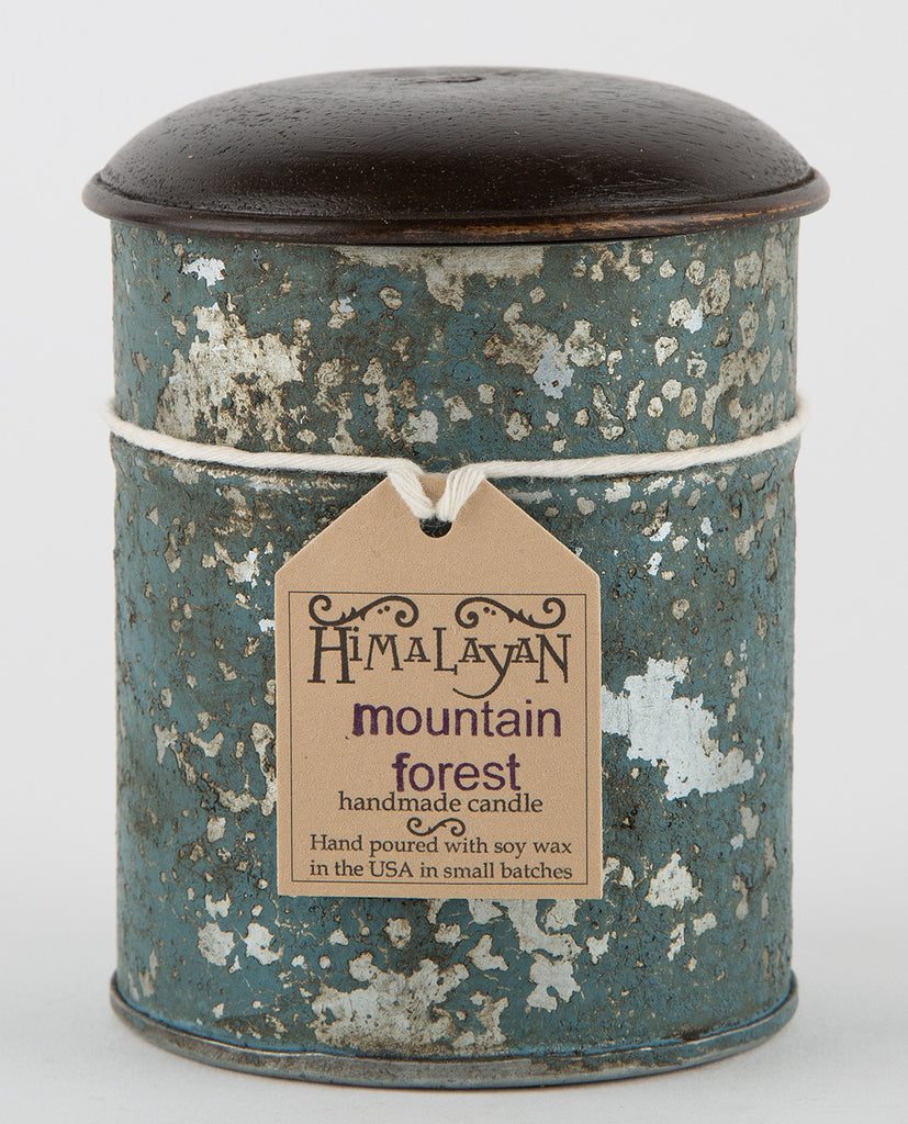 MOUNTAIN FOREST BLUE TIN CANDLE-HIMALAYAN TRADING POST-American Rag Cie