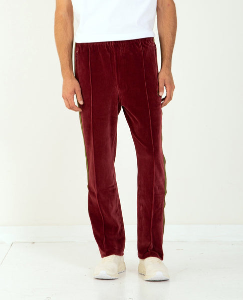 NEEDLES Narrow Track Pant Poly Velour Bordeaux