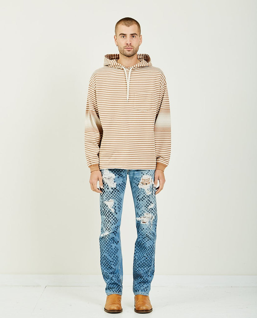REMI RELIEF Native Motif Striped Hoodie