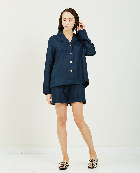 SLEEPER Navy Linen Pajama Set With Short