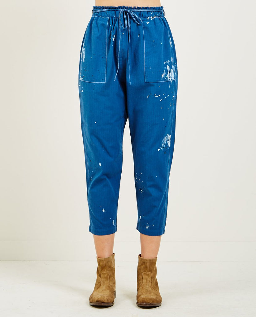 RAQUEL ALLEGRA-NAVY UTILITY COTTON STRIPE PAINTER'S PANT-Women Pants-{option1]
