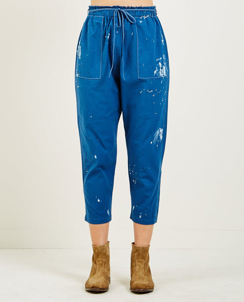 RAQUEL ALLEGRA NAVY UTILITY COTTON STRIPE PAINTER'S PANT