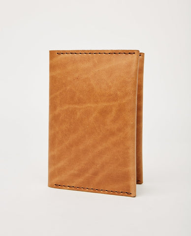 EZRA ARTHUR NO. 5 PASSPORT WALLET JET TOP STITCH