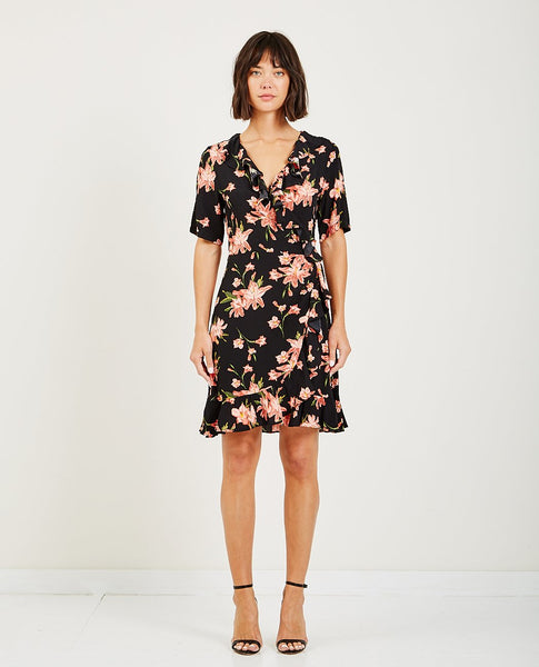 JUST FEMALE OLINE WRAP DRESS COLE AOP