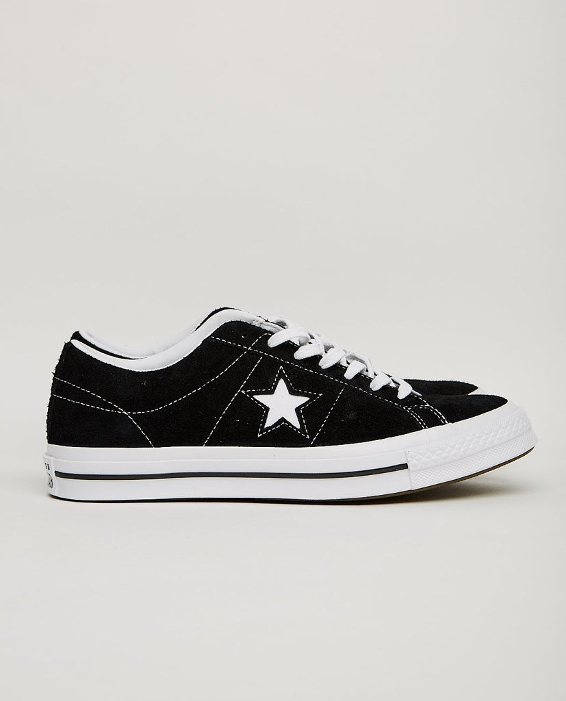 CONVERSE-ONE STAR LOW BLACK-Men Sneakers + Trainers-{option1]