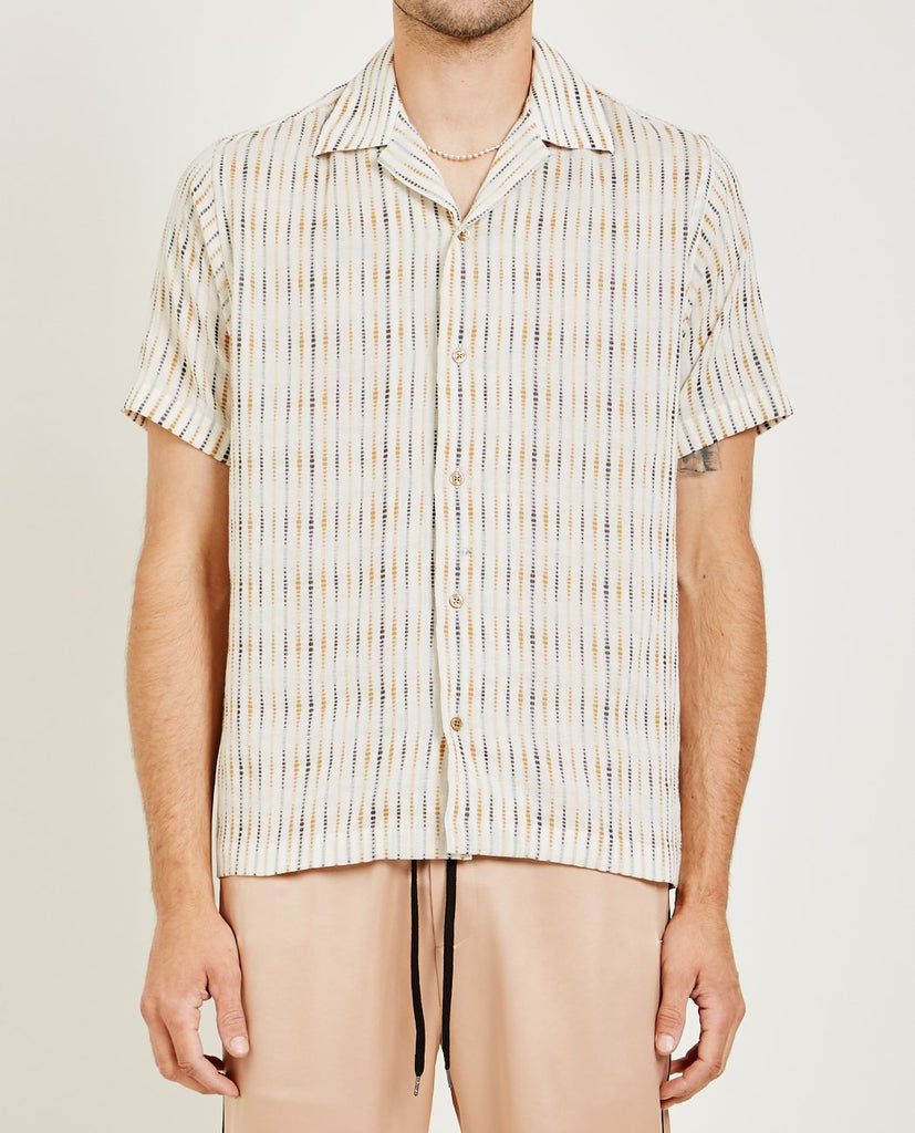 CMMN SWDN-OPEN COLLAR SHORT SLEEVE SHIRT-Men Shirts-{option1]