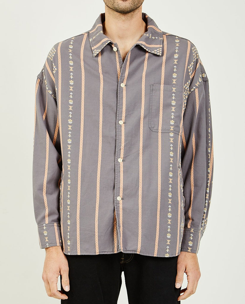 OR MOTIF STRIPED WIDE SHIRT-REMI RELIEF-American Rag Cie